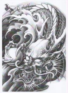 Asian Chinese Japanese dragon tattoo design art inspiration