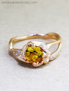 Violette Citrine Engagement Ring - Unique, Avant-Garde & Sculptural – Dana Walden Bridal :: Engagement Ring Designers - NYC