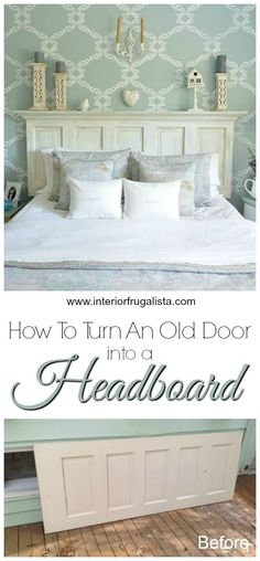 Looking for an inexpensive idea for a headboard? Here is how you can build one in a day using an Old 5-Panel Door and Crown Molding | The Interior Frugalista 5 Panel Doors, Man Room, Crown Molding, Bedroom, Building, Interior, Diy, Construction, Indoor