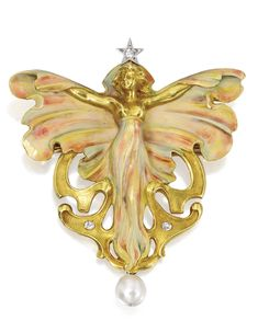 GOLD, PEARL, DIAMOND AND ENAMEL PENDANT-BROOCH, FRANCE, CIRCA 1900.