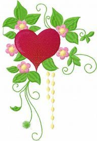 Flowers heart free embroidery design. Machine embroidery design. www.embroideres.com