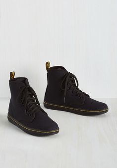 Street Team Spirit Sneaker in Black - Hi-Top. Promoting an upcoming show feels like a party when your tootsies are sporting these black canvas hi-tops from Dr. #black #modcloth