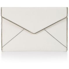 Rebecca Minkoff Leo Envelope Clutch Bag ($100) ❤ liked on Polyvore featuring bags, handbags, clutches, white, white envelope clutch bag, flap handbags, envelope clutch, zipper flap purse and rebecca minkoff clutches