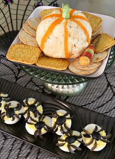 Adult Halloween Party - Appetizer Recipes (Pumpkin Cheese Ball and Spider Deviled Eggs)