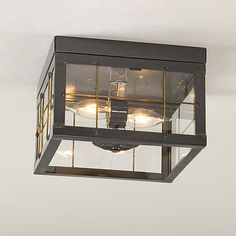 Double Ceiling Light with Brass Bars by Irvin's Country Tinware