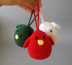 Christmas Ornament Birds in  Holiday Colors