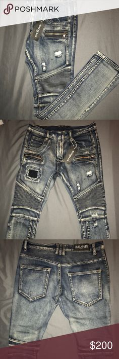 Authentic Balmain Jeans Selling my bfs authentic designer Balmain jeans he got them as a gift only worn once and didn't fit him they way he liked there basically brand new with the tag he just wants them gone quick this price is a STEAL! Listing at $200 Price negotiable Balmain Jeans