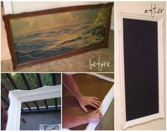 Make chalk board from old painting
