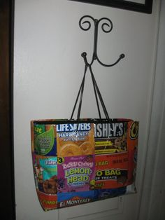 A bag made out of candy wrappers. love this idea for trick or treating! maybe next yr