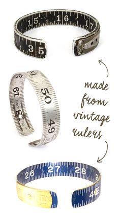 "This handmade round bangle bracelet is crafted from a vintage Craftsman fold-out ruler. It is aluminum with numbers and marking lines shallowly engraved into the metal with a clean charcoal black coloring beautifully intact. This bangle fits wrist sizes M-L. Please measure your wrist: The bangle measures 7 7/8"" oval x 5/8"" wide and has a 1/2"" space for curving it around your wrist. The metal stretches slightly allowing you to get it on, but it should not be bent."