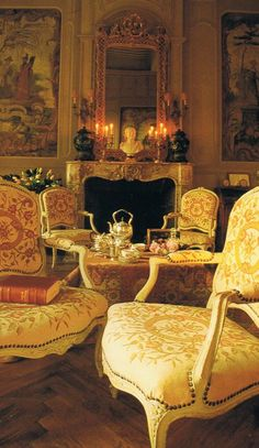 A cozy, candlelit, chinoiserie paneled, French salon. decor inspiration.