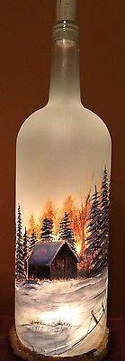 Gran Pintado a Mano Vidrio Esmerilado iluminado Botella de vino con árboles y Granero | Casa y jardín, Decoración para interiores, Botellas | eBay!