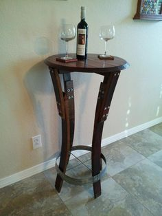 bar table made out of wine barrel staves and barrel top arched napa valley wine barrel