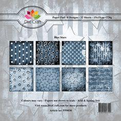 Pappersblock - Dixi Craft - Blue Stars - 15x15cm