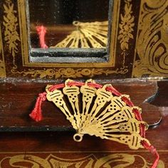Antique dolls house doll accessory , Antique miniature Dollhouse doll fan , Puppenstuben zubehor puppenfächer