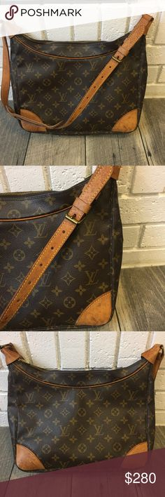 Authentic Louis Vuitton Boulogne Classic shoulder bag! A perfect size for an everyday carry!   Bag is in good used condition. Monogram canvas is in excellent condition. Interior is clean with a musty smell. Vachetta has a beautiful patina with a few marks, please see pictures. Interior pocket is sticky and has peeled, so interior zipper is stuck. Exterior zipper works fine, although it can be a little stiff sometimes.  Feel free to ask questions or make an offer! No trades. Louis Vuitton…