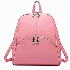 Women's  Korean Style Pure Color PU Backpacks – USD $ 49.99