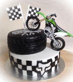 Motocross Cake - cake by Monika Klaudusz Motocross Birthday Party, Motorcycle Birthday Parties, Dirt Bike Birthday, Motorcycle Party, Motorcross Cake, Bolo Motocross, Motorbike Cake, Ducati Motorbike, Mini Motorbike