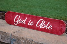 🙏God is Able. Painted Wood Signs, Custom Wood Signs, Faith Prayer, Personalized Signs, Custom Paint, Painting On Wood, Wood Art, Projects To Try, Prayers