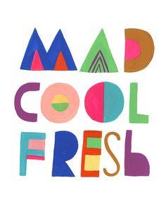 Cartel de letras Cool fresco loco Sarah Walsh por Tigersheepfriends