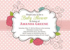 Floral and Polka Dot Baby Shower Invitation  by PartyPopInvites, $17.00