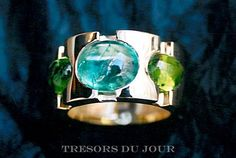 Unique STATEMENT RING  with Blue Tourmaline and Peridot cabochons by TresorsDuJour  #UniqueStatementRing
