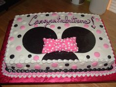 Minnie Mouse themed Baby Shower cake. Buttercream with Fondant accents. Thanks for looking!