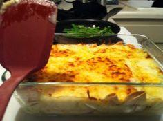 Great recipe for Christmas Eve dinner. White Chicken Enchiladas