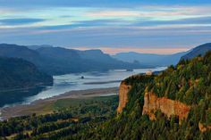 Columbia Gorge looking at the Washington  side from the Oregon side.  The Columbia river is the border between the states.
