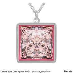 Pink Diamond Shadowbox Sterling Silver Necklace
