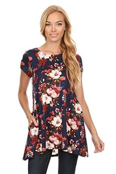 cd61c181876b2f Lauren Laws · Tops for Leggings · Women s Floral Print Short Sleeves Side  Pocket Tunic Top. S-XL. Clearance Shoes
