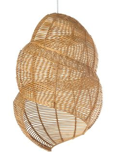 Wicker Coiled Shell Pendant Lamp, Handwoven, Natural Brown - Tropical - Pendant Lighting - by KOUBOO Rattan Pendant Light, Pendant Chandelier, Shell Pendant, Pendant Lighting, Ceiling Lamp, Ceiling Lights, Spiral Shape, Bedroom Lamps, Master Bedroom