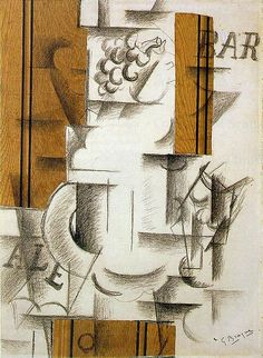 Georges Braque - Fruitdish and Glass (1912). Papier collé and charcoal on paper
