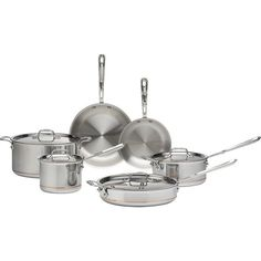 Crate & Barrel All-Clad ® Copper Core 10-Piece Cookware Set with Bonus ($1,300) ❤ liked on Polyvore featuring home, kitchen & dining, cookware, stainless cookware set, stainless steel cooking set, 10 piece cookware set, stainless cookware and stainless steel cookware