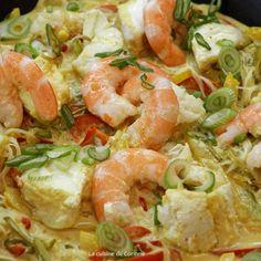 Wok de poisson et crevettes au curry