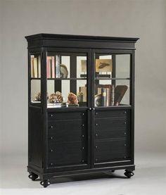 Formal Black Wood Glass Door Curio Cabinet