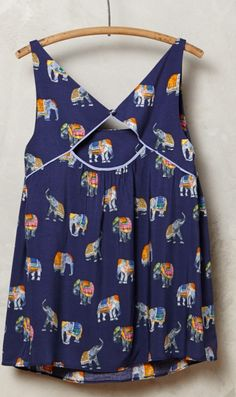 Elephants: this print is just too cute! Like the cutout on the back, but not too into the loose gathered fabric look
