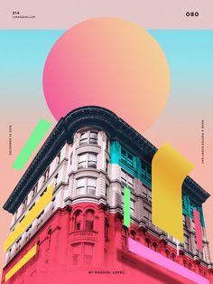 Wrap Buildings with colourful shapes and shadows. Print Design, Pop Design, Flat Design Poster, Shape Design, Cover Design, Poster Designs, Design Logo, Design Art, Geometric Graphic Design