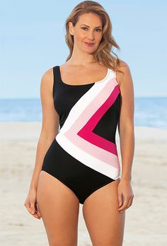 Beach Belle Perfection Plus Size Spliced Swimsuit