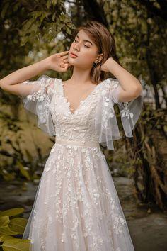 SOPHIA A-line Vintage wedding dress with Flutter sleeve Blush pink Garden Wedding Dresses, Dream Wedding Dresses, Wedding Gowns, Prom Dresses, Budget Wedding Dresses, Colorful Wedding Dresses, Fairy Wedding Dress, Blush Pink Wedding Dress, Blush Pink Weddings