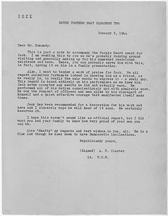 Letter to Joseph P. Kennedy, Sr. on John F. Kennedy being awarded the Purple Heart.