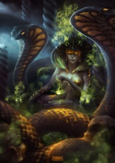 "Buto (Uatchit, Udjat, Wadjit, Edjo) - a cobra goddess; a personification of the sun's burning heat and she was called the ""Lady of Heaven"" and the queen of all of the gods"