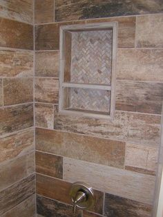 Walk-In Tile Shower Designs porcelain 12 x 24 | Rustic Plank Style Porcelain Tile with Slate Niche