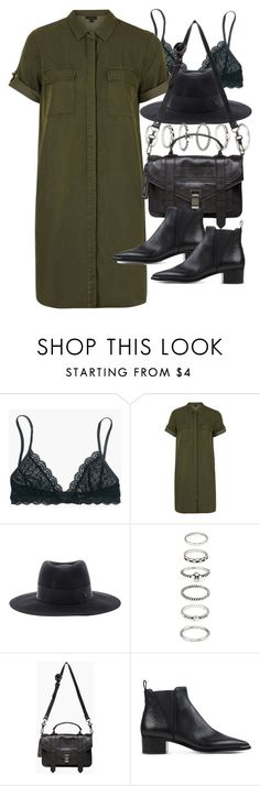 """""""Outfit with a shirt dress"""" by ferned ❤ liked on Polyvore featuring Madewell, Topshop, Maison Michel, Forever 21, Proenza Schouler and Acne Studios"""