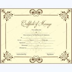 10 beautiful marriage certificate templates to try this season Word Layouts Gift Certificate Template Word, Wedding Certificate, Marriage Certificate, Certificate Design, Award Certificates, Marriage Records, Marriage License, Carnival Invitations, Roses