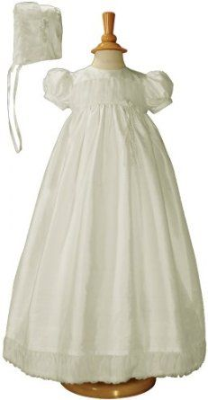 Amazon.com: Silk Dupioni Christening Baptism Gown with Silk Organza Pleats and Bonnet: Clothing