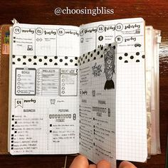 """Since the #bulletjournal layout I made for this week is not working for me, I created a new one. I went back to doing the dailies with the weekly overview. But the difference now is that I'm using the """"dutch door"""" technique so I can still see my weekly calendar while doing the dailies. And I love it  #bulletjournaljunkies #travelersnotebook"""