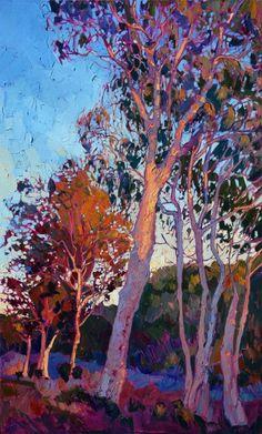 Eucalptus oil painting by California impressionist Erin Hanson
