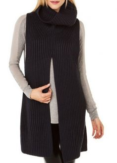 Chic Sleeveless Black Knitting Wool Sweaters with Turtleneck