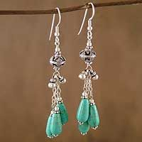 "Harmony from @NOVICA,  Measurements:  3"" L x 0.6"" W x 0.6"" D  Features:  Dyed magnesite, sterling silver Hook earrings Combination finish"
